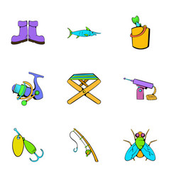 Fish sport icons set cartoon style vector