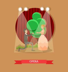 Flat of opera singers vector