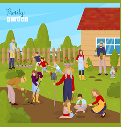 Gardening and family vector