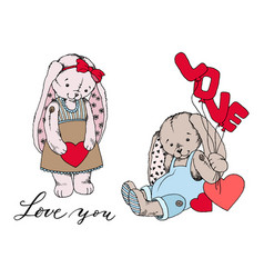 girl teddy bunny toy with heart and boy bunny vector image