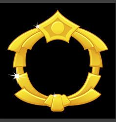 Gold game frame award blank avatar round template vector