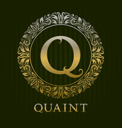 Golden logo template for quaint boutique vector