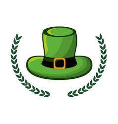 green hat accessory st patrick with branches vector image