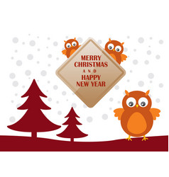 greeting card with cute owls for merry christmas vector image