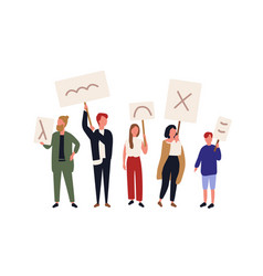 group political activists holding banners vector image