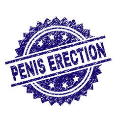 Grunge textured penis erection stamp seal vector