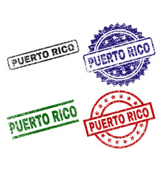 Grunge textured puerto rico seal stamps vector