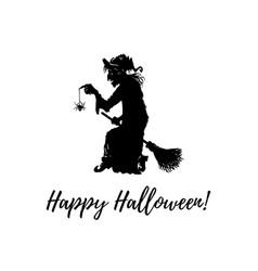 happy halloween hand lettering vector image