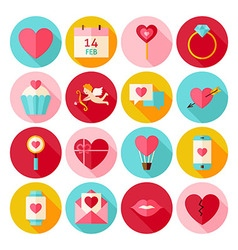 Happy Valentines Day Circle Icons Set with long vector image