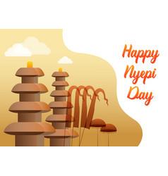 hindu silence day gradient greetings vector image