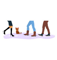 homeless cat between men and women feet vector image