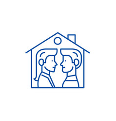 house for two line icon concept house for two vector image