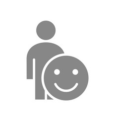 human with positive emotions gray icon happy vector image
