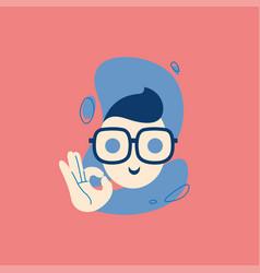 icon man showing ok sign deal like emoji vector image