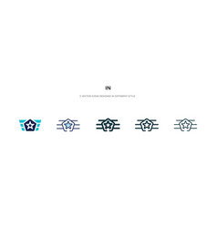 In icon different style two colored and black vector