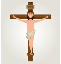 Jesus christ crucified cross design vector