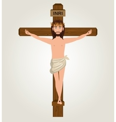 Jesus christ crucified cross desing vector image