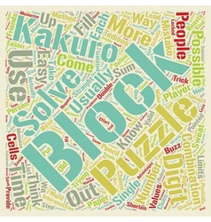 Kakuro blocks text background wordcloud concept vector