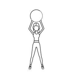 line healthy woman doing exercise with ball vector image