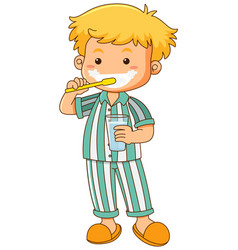 Little boy brushing teeth vector