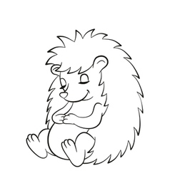 Little cute hedgehog sits and sleeps vector