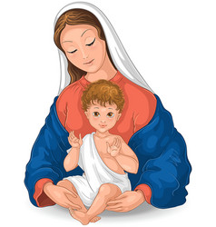 madonna virgin mary and child jesus cartoon vector image