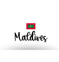 Maldives country big text with flag inside map vector