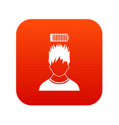Man with low battery over head icon digital red vector