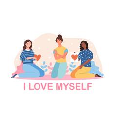 Mental love psychological health self acceptance vector