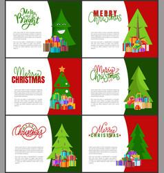 merry christmas invitations templates xmas trees vector image