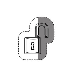 Monochrome contour sticker with open padlock vector