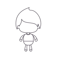 Monochrome silhouette of faceless little boy with vector