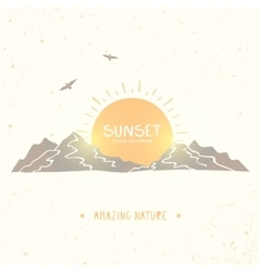 Mountain Sunset Silhouette vector image vector image