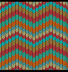 Multicolor zigzag knitted seamless pattern vector