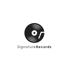music disc pen signature logo icon template vector image