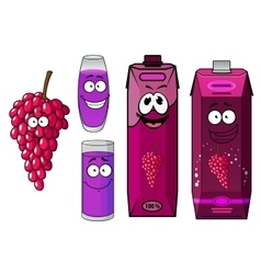 Natural red grape juice cartoon characters vector
