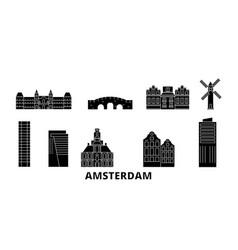 netherlands amsterdam city flat travel skyline vector image