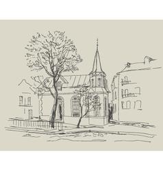 Old city street - sketch vector image