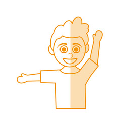 orange silhouette shading caricature half body boy vector image