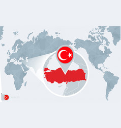 Pacific centered world map with magnified turkey vector