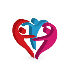 people together dance happy heart symbol vector image