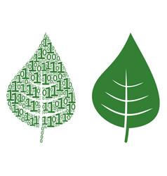 Plant leaf mosaic of binary digits vector