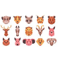 polygonal geometric animals low poly portraits vector image