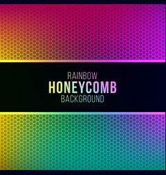 rainbow gradient background with honeycomb pattern vector image