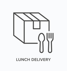ready food delivery line icon outline vector image