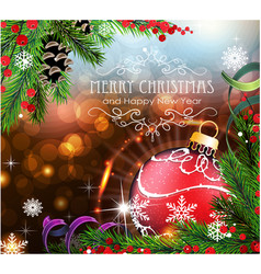 red christmas ball with sparkles and fir branches vector image