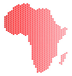 Red dotted africa map vector
