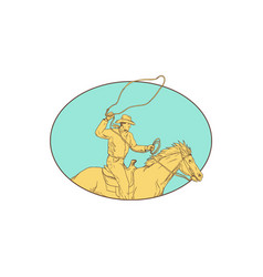 Rodeo cowboy lasso horse circle drawing vector