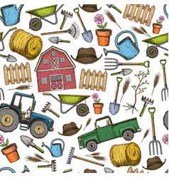 seamless background of farming vector image