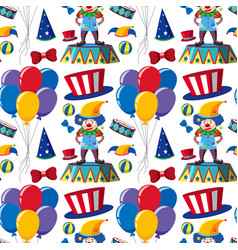 Seamless background with clowns and balloons vector